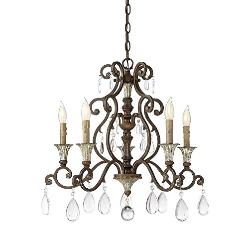 Savoy House 1-3001-5-8 St. Laurence - Five Light Chandelier, New Tortoise Shell with Silver Finish with Clear Crystal