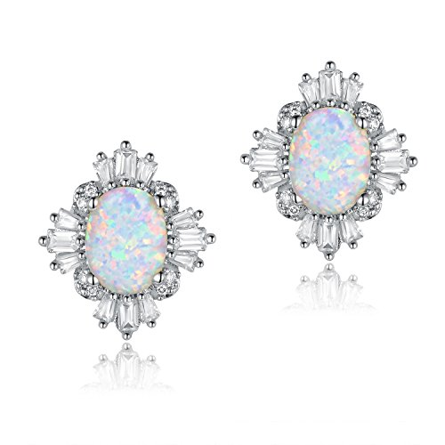 Oval White Opal Stud Earrings with Sparkle CZ Crystal 18k White Gold Plated Nickel Free for Women (Opal Vintage Earrings)