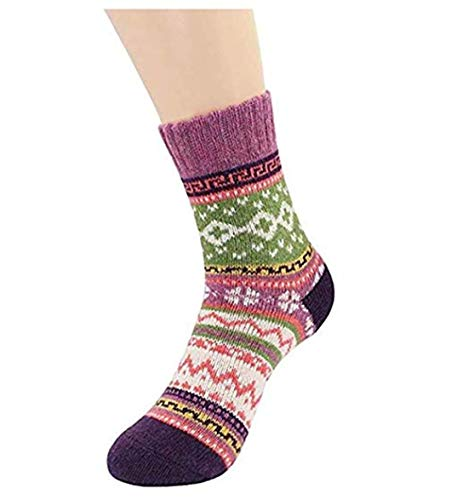 LOSOUL Womens Cashmere Socks Ethnic Wind Socks ()