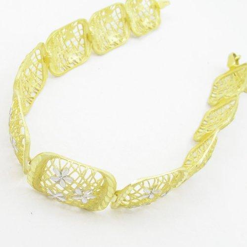 Arrondis-Rectangulaire-Argent 925/1000-Lien mbmi39 bracelet fleur