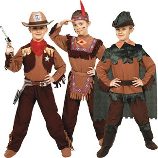3-in-1 Cowboy, Indian, Peter Pan Children's Costume Set Size: Medium