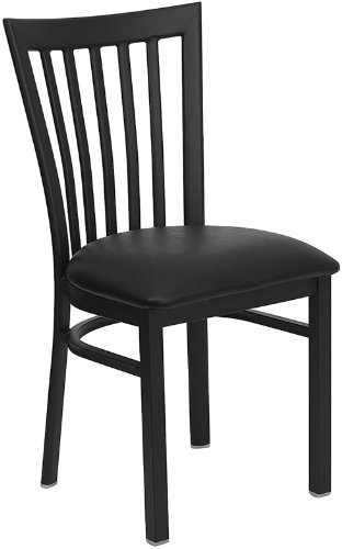 Chairs Restaurant Schoolhouse (Flash Furniture HERCULES Series Black School House Back Metal Restaurant Chair with Black Vinyl Seat)