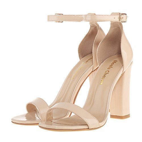 Women's Strappy Chunky High Heel Ankle Strap Sandals Open Toe Dress Sandal for Wedding Birthday Party Evening Office Shoes Patent Leather Nude Size 9 (Lady Open Strappy Toe Sandal)