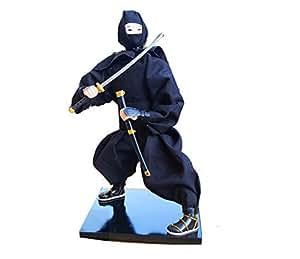 Japanese Samurai Ninja Doll Vintage Military Warrior Katana Black Blade Sword-01