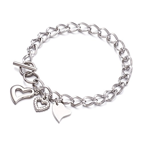 (FASHEWELRY Stainless Steel Chain Link Bracelets for Women Heart Charm Bracelet (Toggle Clasps Style))