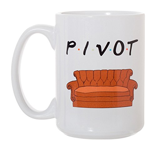 Pivot Coffee Mugs -TV Show Friends Sofa Coffee Mug Friends Mug Pivot Friend TV Show Coffee Mug for Men and Women Deluxe Large Tea White Ceramic Mug Novelty Gift Idea