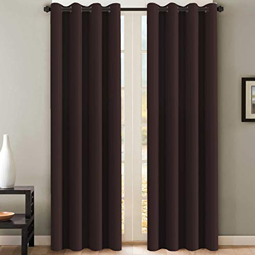 H.VERSAILTEX Blackout Room Darkening Curtains Window Panel Drapes - (Chocolate Brown Color) - 2 Panels - 52 inch Wide by 84 inch Long Solid Pattern, Grommet Top