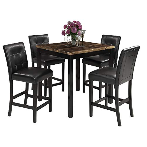 LZ LEISURE ZONE 5-Piece Kitchen Table Set Marble Top Counter Height Dining Table Set with 4 Leather-Upholstered Chairs (Wood)