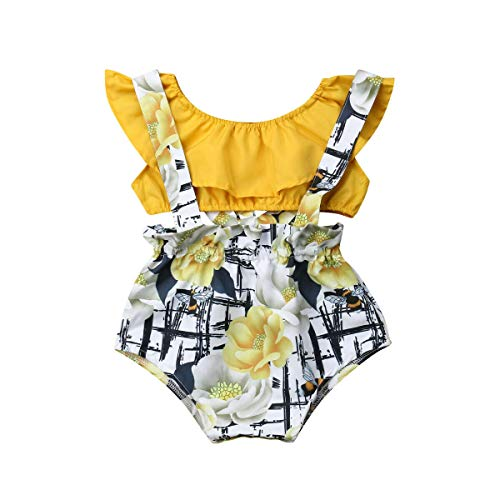 Short Girls Tube (Newborn Toddler Baby Girls Summer Outfits Yellow Ruffle Tube Top + Floral Suspender Shorts Set Overall Clothes Kids (6-12 Months, Yellow top+ Floral Shorts)
