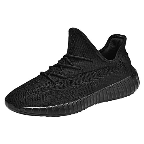 ANJUNIE Men's Breathable Mesh Non-Slip Outdoor Wild Sneakers Fashion Lightweight Running Shoes Slip-On Casual for Walking(Black,44) ()