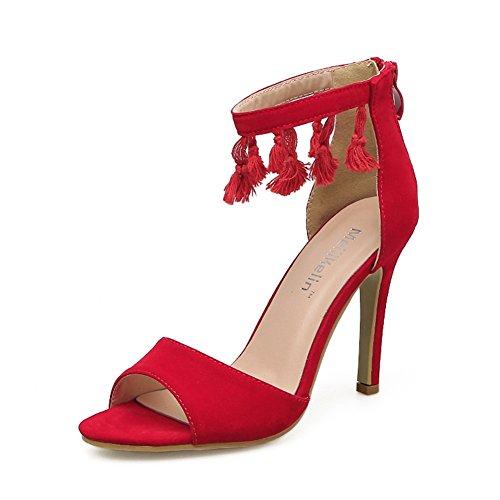 Tacones Aguja eu38uk555 Para De Red Red Boca Poco Tacón Estilete Profunda Boda Sandalias Moda Zapatos Mujeres Borla Highxe Rojo Pescado Alto wSRpqpP