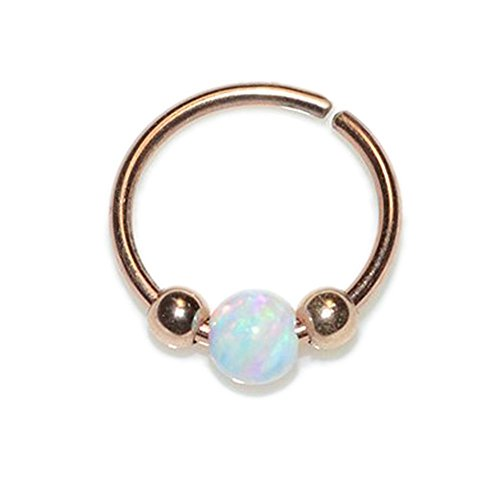 Gold 3mm White Opal Tragus Earring 20g/Nose Hoop, Tragus Ring, Helix (White Opal Flower)