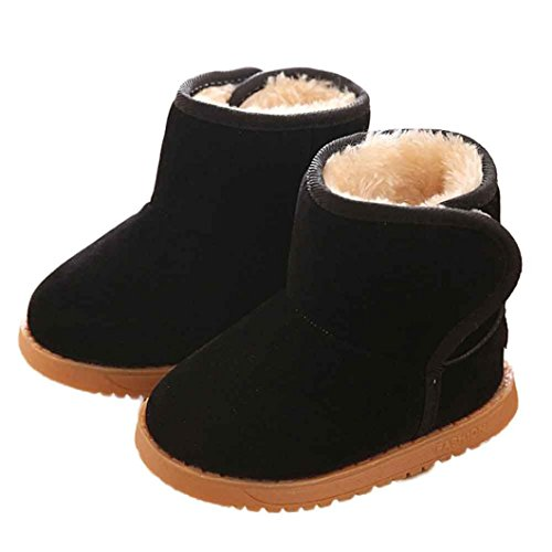 Voberry Baby Toddler Kids Children Girls Boys Winter Warm Boot Fur Lined Outdoor Snow Boots (1-2Age, Black)