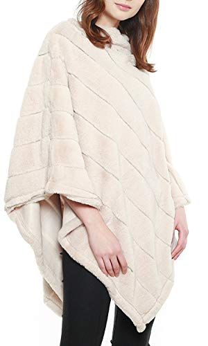 APPARELISM Women's Crew Neck Faux Fur Cape Ruana Poncho for sale  Delivered anywhere in USA
