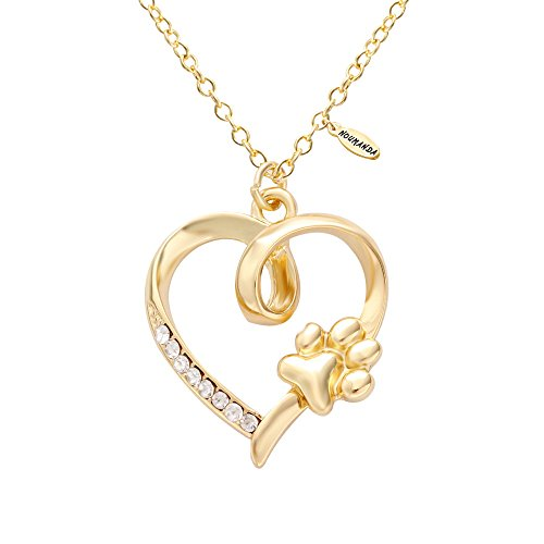 NOUMANDA Women Bijoux Dainty Golden Crystal Heart with Pet Cat Print Dog Paw Necklace (gold) (Pet Crystals Gold)