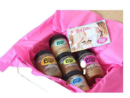 Betsys Best Nut Butter Gift Set - Cinnamon Almond, Toasted Coconut Cashew, Cashew Cardamom, Cinnamon Peanut and Cinnamon Seed Butters (Sampler, 5 Pack)