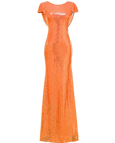 SOLOVEDRESS Women's Mermaid Sequined Evening Dress Formal Prom Sequin Bridesmaid (US 12,Orange)