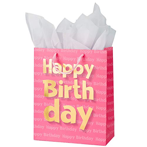 Printed Happy Ribbon Birthday - Loveinside Paper Gift Bags Gold Metallic Happy Birthday Printed Medium Gift Bags with 2 Sheet Tissue Paper for Birthday - Pink - 10.2''x12.5''x4.7''