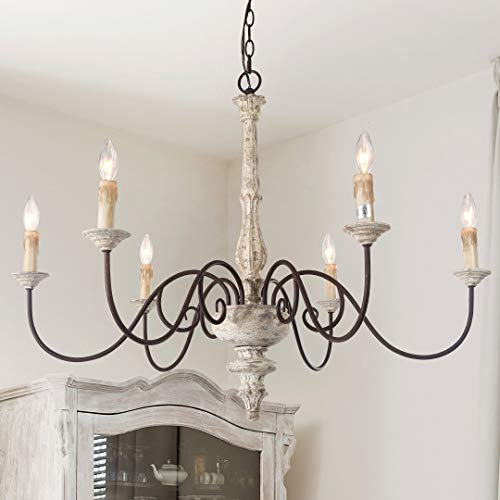 "LALUZ 6-Light French Country Chandelier, White Distressed Wood Hanging Lighting Fixtures for Living Room, 28""H x 37""L"