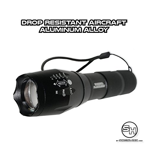 Tactical LED Flashlight - High Power Torch Light is 1000 Lumens utilizing Cree technology - Durable Aircraft Aluminum Alloy for Self Defense, Police, and Military use - Rechargeable (Black) by Survival Hax (Image #4)