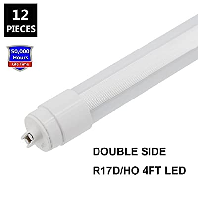 360 degree T8 T10 T12 4ft 28w R17D/HO base JESLED Light, led outdoor tubes for double sided signs 6000K Cool White Frosted Cover (12-Pack)