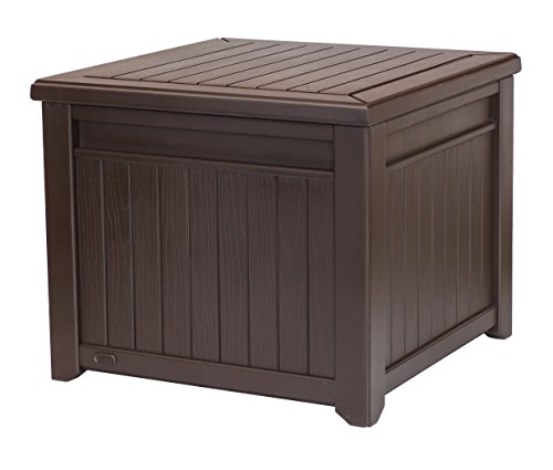 Keter Cube Wood-Look 55 Gallon All-Weather Garden Patio Storage Table or Bench (Plastic Outdoor Storage Bench)