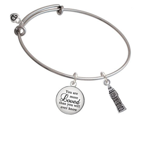 Silvertone London's Big Ben Clock Tower You Are More Loved Bangle Bracelet by Delight Jewelry (Image #2)