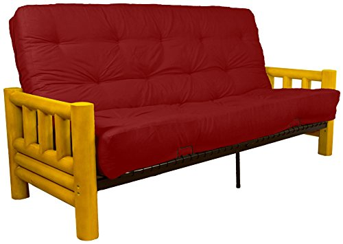 Rocky Mountain 8-Inch Loft Inner Spring Futon Sofa Sleeper Bed, Queen-size, Microfiber Suede Cardinal Red Upholstery