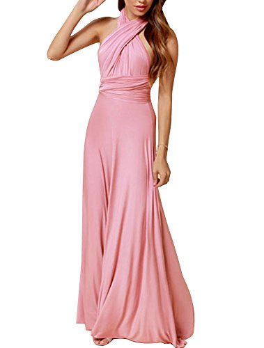 Cfanny Womens Cross Front and Back Multiway Jersey Maxi DressPinkOne size