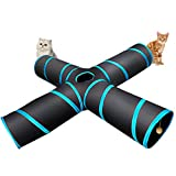 #6: 4 Way Cat Tunnel, Lachesis Pet Cat Dog Toys Tunnel Tube, Large indoor outdoor Play Toy Tunnel for Cats Dogs Puppy Rabbits, with a Bell & a Soft Ball