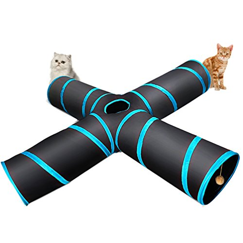 4 Way Cat Tunnel, Lachesis Pet Cat Dog Toys Tunnel Tube, Large indoor outdoor Play Toy Tunnel for Cats Dogs Puppy Rabbits, with a Bell & a Soft Ball Dog Cat Play