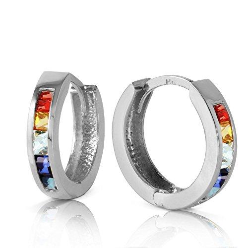 14k White Gold Multi-colored Sapphire Huggie (Multi Colored Sapphire Earrings)