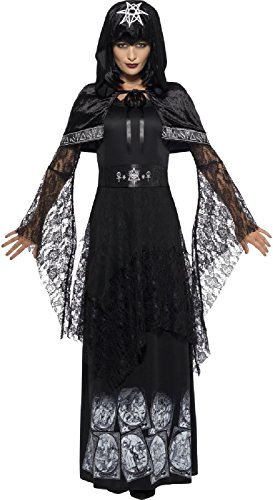 (Ladies Deluxe Black Magic Mistress Wiccan Pagan Voodoo Halloween Fancy Dress Costume Outfit UK 8-22 Plus Size (UK)