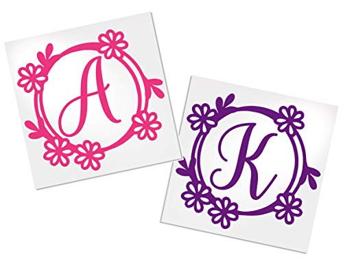 Letter Decal with Flower Border for Cup, Car, Planner, Laptop, Your Choice of Color & Style | Decals by -