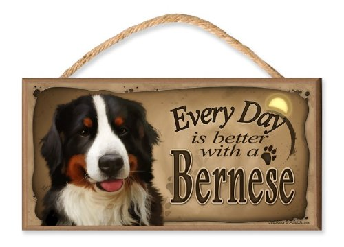 Every Day is Better With A Bernese Mountain Dog Wooden Sign / Plaque featuring the Art of S. Rogers