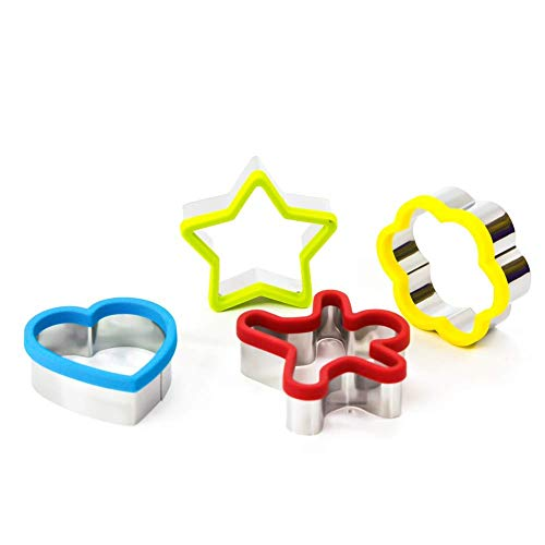 4 Star Bread - 4 pcs Of Different Shaped Stainless Steel Sandwich Cutter, Heart shape cutter, Bread Cutters, Stars Cutters For Kids Food Grade Biscuit Mold Cookie Cutter, Cakes and Cookie cutter Set By Khandekar