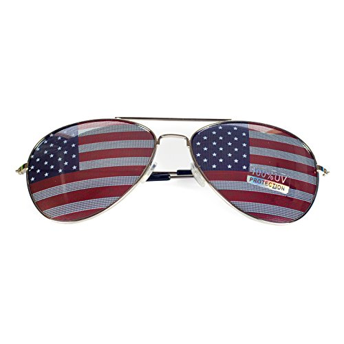 Goson American Flag Mirror Aviator Novelty Decorative Sunglasses (Silver) from Goson