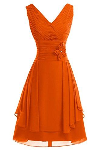 Abendkleid Mit A Brautjungfernkleid Ausschnitt Ivydressing Linie Promkleid Blumen Damen V Kurz Orange 8tUvxOxXqw