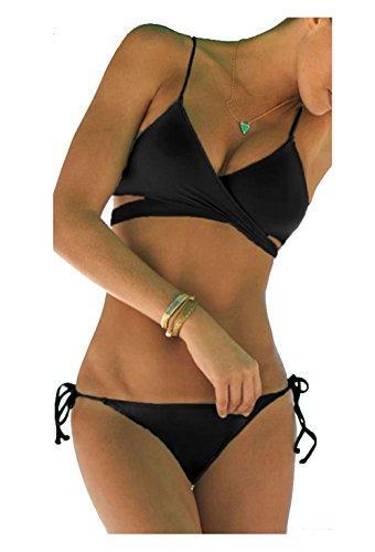 ZAIQUN Escotado Ba?ador con Acolchado Bikini Ropa de Ba?o Negro