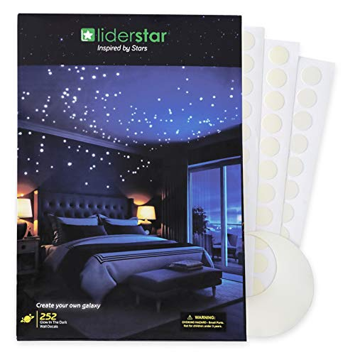 Glow in The Dark Stars Wall Stickers,252 Adhesive Dots and Moon for Starry Sky, Decor for Kids Bedroom or Birthday Gift,Beautiful Wall Decals for Any Room by LIDERSTAR,Bright and Realistic. - Paint Bedroom