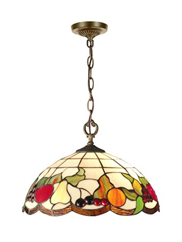 Springdale STH11002 Fruits Tiffany Pendant, Antique Brass - Dale Tiffany Hanging Pendant Lamp