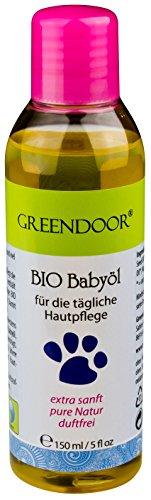 Greendoor BIO Babyöl parfümfrei - 100% BIO, 100% Natur, vegan, 150 ml, hochwertigste Pflanzenöle: BIO Jojobaöl, BIO Sesamöl, BIO Macadamiaöl - Naturkosmetik speziell für zarte Baby-Haut & Kinder-Haut, ohne Konservierungsmittel