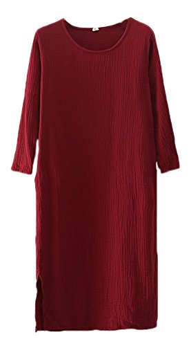 Women's Red Linen With Pockets Cotton Dresses Soojun Simple Wine Midi a1dxTq1w