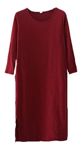 Soojun Women's Wine Linen Midi Pockets Simple Red With Cotton Dresses q6HrTqa