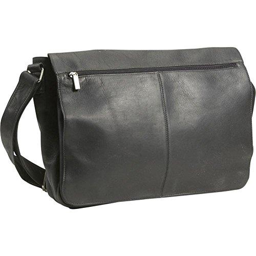 West Full Flap (David King Leather East/West Full Flap Over Messenger Bag in Black)