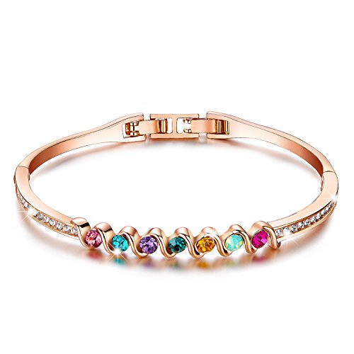 [Menton Ezil Colorful Life 18K Rose Gold Plated Bangle Bracelet Colorful Zircon Diamond Hinged Jewelry 7