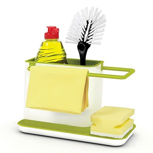 Agordo Kitchen Brush Sponge Sink Draining Towel Washing Holder Suction Cup Base Rack