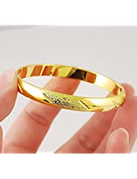 CS-DB 24K Gold Real Yellow Gold filled Bracelet Carved Wedding Jewelry Shining Bangle Women