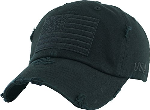 (KBVT-209 BLK Tactical Operator with USA Flag Patch US Army Military Baseball Cap Adjustable)