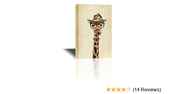 f2d97c663ac Amazon.com  wall26 Mr Animal Series Canvas Wall Art - Mr Giraffe Wearing a  Hat and a Tie - Gallery Wrap Modern Home Decor